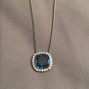 Givenchy Silver Tone Blue Crystal Necklace